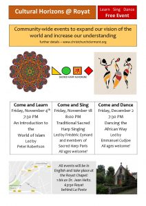 Autumn cultural events at Christ Church Chapel